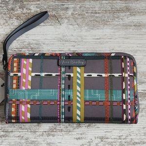 NWT Vera Bradley Plaid RFID Wristlet Wallet
